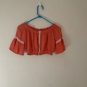 Off shoulder coral crop top